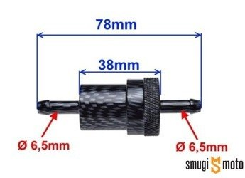 Filtr paliwa metalowy, carbon, 6mm (rozbieralny)