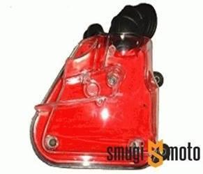 Filtr powietrza kompletny, przezroczysta obudowa, czerwona gąbka, Minarelli leżące