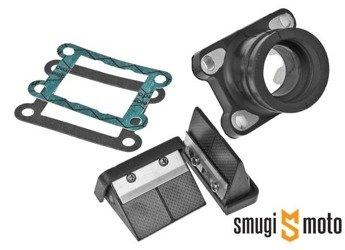 Zawór z króćcem Italkit VForce Carbon, 28mm przelot / 35mm wyjście, Derbi / Minarelli AM
