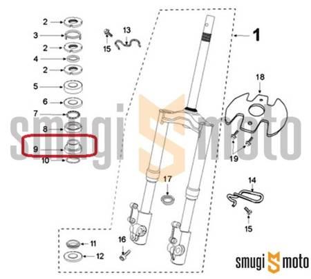 Bieżnia łożyska główki ramy, dolna, Peugeot Speedfight III