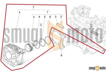 Cylinder Kit d.39mm, Piaggio Liberty 50cc IGET 4T 3V '17-18 / ZIP 50cc 4T 3V '18