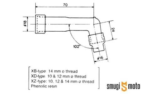 Fajka świecy zapłonowej NGK, d.10-12mm, M4 102°