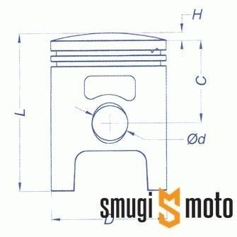 Tłok kompletny Meteor, Polini Sport / Stage6 Streetrace, 70cc, Minarelli 10mm (dwa pierścienie) (różne rozmiary)