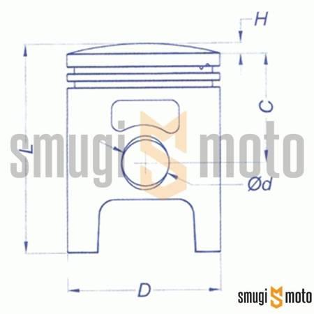 Tłok kompletny Vertex, Piaggio / Gilera 50cc (różne rozmiary)