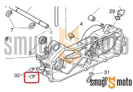 Zaślepka otworu w karterze przy cylindrze, Minarelli LC